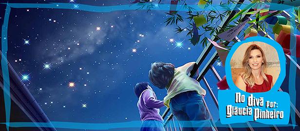 desenho de criança olhando pro céu e vendo estrelas
