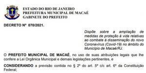 As medidas têm como base no aumento significativo do quantitativo de pacientes internados pela Covid-19 em Macaé.